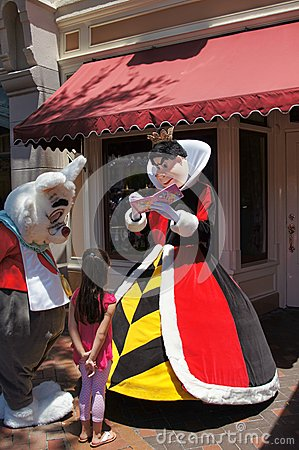 Queen of Hearts and White Rabbit at Disneyland Editorial Stock Image