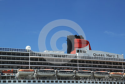 Queen Mary 2 cruise ship detail at Brooklyn Cruise Terminal Editorial Photography