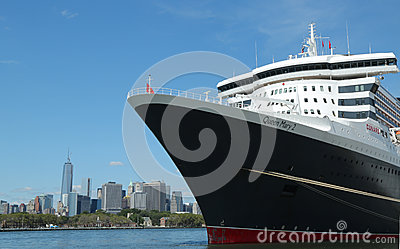 Queen Mary 2 cruise ship docked at Brooklyn Cruise Terminal Editorial Photography