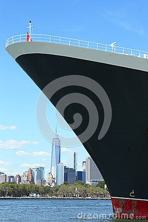 Queen Mary 2 cruise ship docked at Brooklyn Cruise Terminal Editorial Stock Image