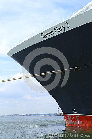 Queen Mary 2 cruise ship docked at Brooklyn Cruise Terminal Editorial Photo