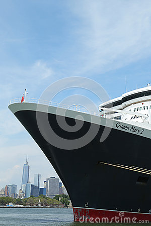 Queen Mary 2 cruise ship docked at Brooklyn Cruise Terminal Editorial Stock Photo