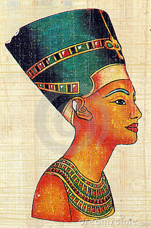 Queen Nefertiti on Papyrus