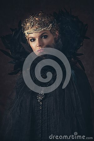 Free Queen Of Darkness In Black Fantasy Costume On Dark Gothic Background. High Fashion Beauty Model With Dark Makeup. Royalty Free Stock Photos - 101685868