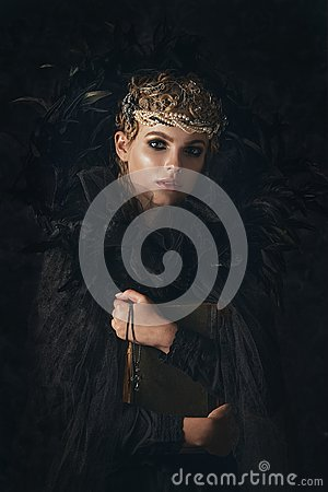 Free Queen Of Darkness In Black Fantasy Costume On Dark Gothic Background. High Fashion Beauty Model With Dark Makeup. Stock Photos - 101685883