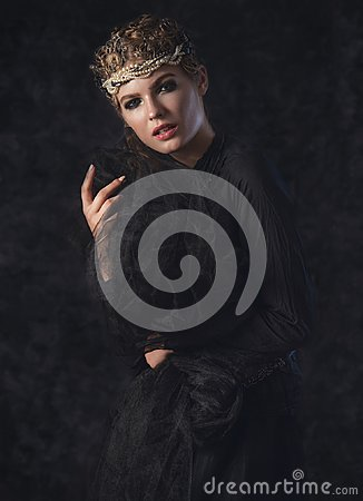 Free Queen Of Darkness In Black Fantasy Costume On Dark Gothic Background. High Fashion Beauty Model With Dark Makeup. Stock Photos - 101686053