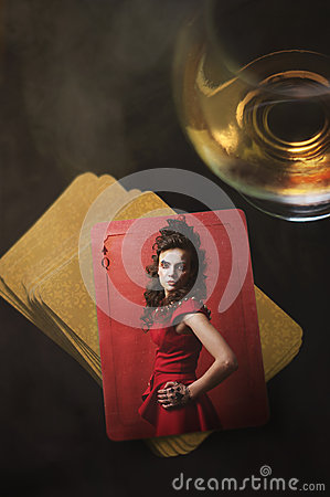 Free Queen Of Spades. Young Woman, Artistic Character. Royalty Free Stock Photo - 38726605