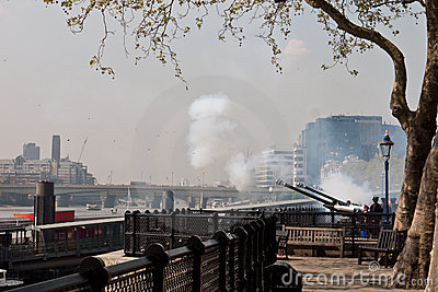 Queen s Birthday Gun Salute, Tower of London Editorial Stock Photo