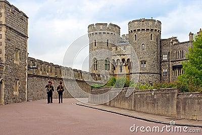 Queen s Guard soldiers in Windsor Castle, UK Editorial Image