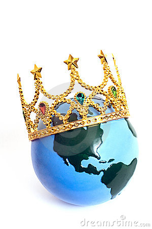 Queen of the World. Humor. A crown on top of the world.