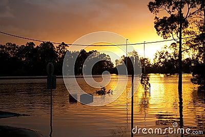 Queensland Floods: Football Stadium Editorial Photo