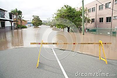 Queensland Floods: Montague Road Barrier Editorial Photography