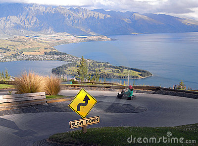 Queenstown luge with view on the Wakatipu lake