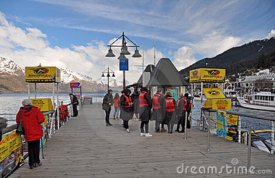 Queenstown Pier, Kawarau Jet Boats, New Zealand Editorial Photo