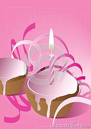 Queque cor-de-rosa com vela