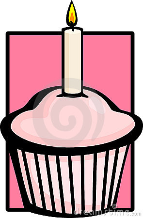 Queque cor-de-rosa do aniversário com vela