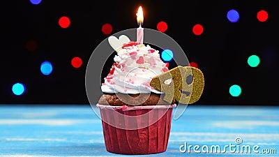 Queque delicioso do aniversário com vela e número de queimadura 49 no fundo borrado colorido das luzes filme