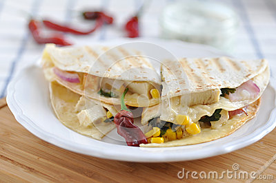 Quesadilla with chicken, chili pepper and corn