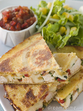 Free Quesadillas With Cajun Chicken Cheese Tomato Salsa Royalty Free Stock Image - 5573896