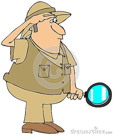 Uomo di safari con la lente d ingrandimento