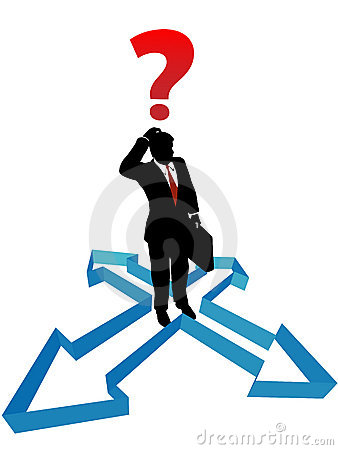 Question businessman indecision direction arrows