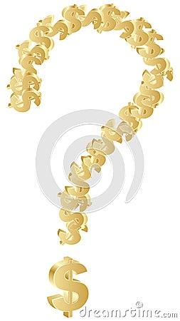 Question mark made of golden dollar symbols