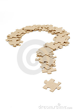 Question mark made by puzzles