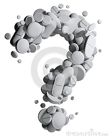 Question mark of medical pills.