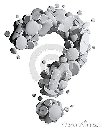 Question mark of medical pills.
