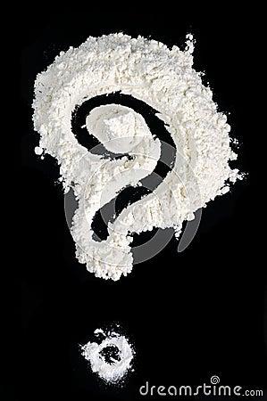 Question Mark Written in Flour