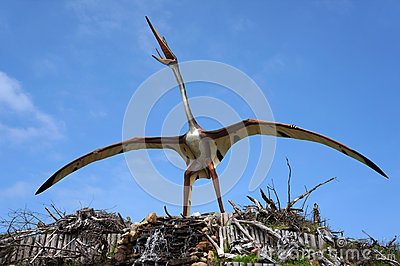 Quetzalcoatlus, pterosaur. Model of dinosaur. Editorial Image