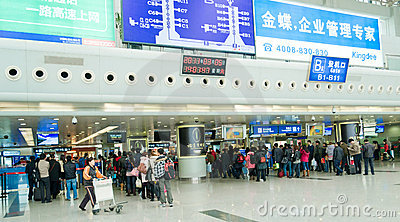 queue for boarding Editorial Stock Photo