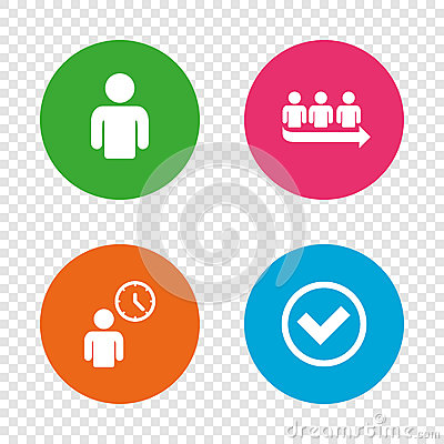 Free Queue Icon. Person Waiting Sign. Check And Time. Royalty Free Stock Photo - 90346125