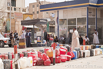 Queue at petrol station in Egypt Editorial Stock Photo