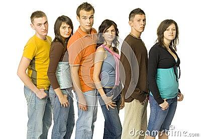 Queue of teenagers