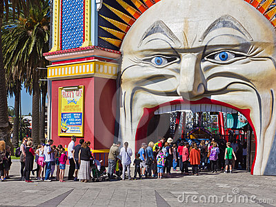 Queue to purchase tickets to Luna Park, Melbourne. Editorial Image