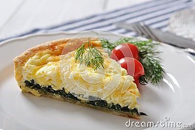Quiche pie with spinach