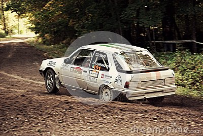 Quick capture of fast rally car Editorial Stock Photo
