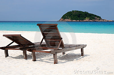 Quiet beach atmosphere with two chairs