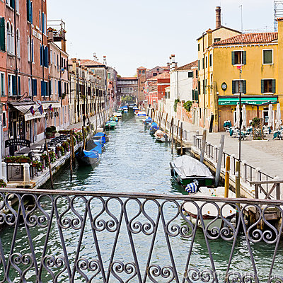 Quiet canal in Venice Italy Editorial Image