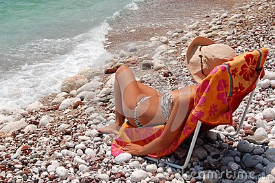 Quiet moments on a rocky Adriatic beach