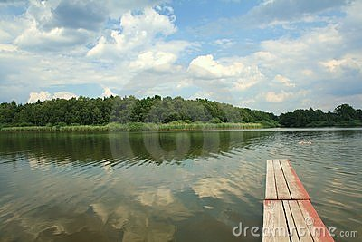 Quiet pond with mole