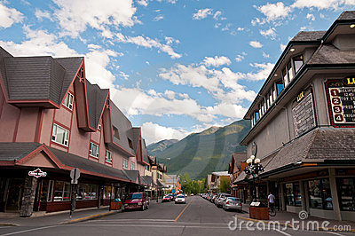 Quiet street in Banff Editorial Photography