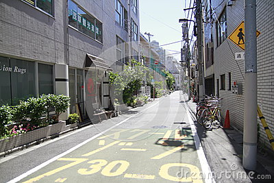 Quiet street in Tokyo Japan Editorial Image