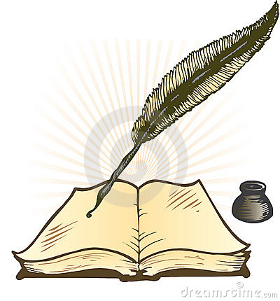 Free Quill Ink Pot And Open Book Vector Illustration Stock Photo - 6667950