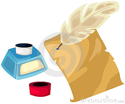 Quill ink pot and paper