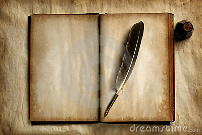 Quill on old book