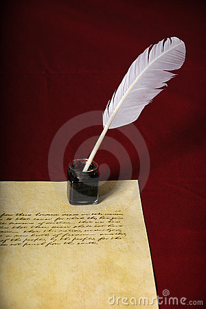 Quill and Pen With handwritten Text