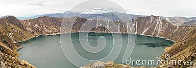 Quilotoa lake in Volcano Crater, Ecuador