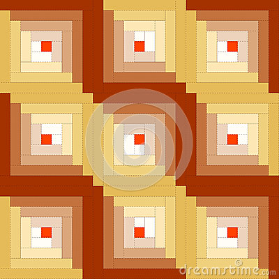 Quilt, Log Cabin Pattern, Straight Furrow Design
